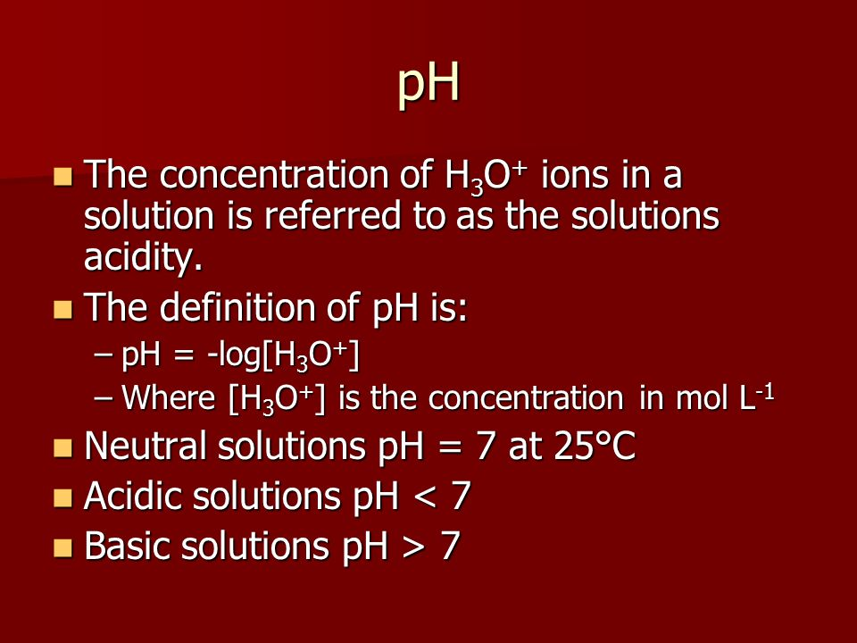 how to get h3o concetration