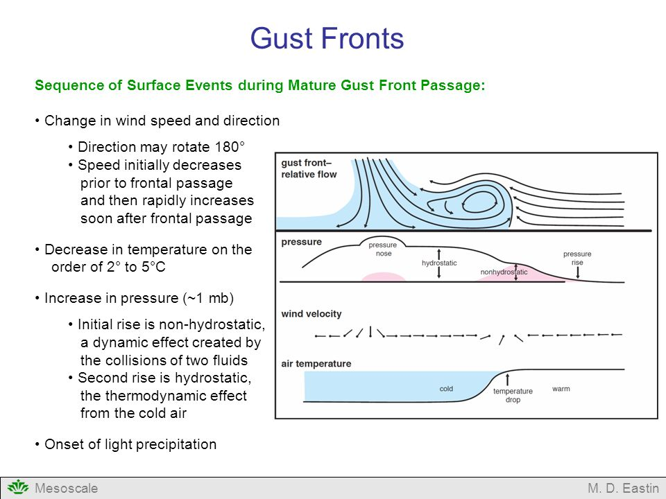 Gust Fronts Sequence of Surface Events during Mature Gust Front Passage: Change in wind speed and direction.