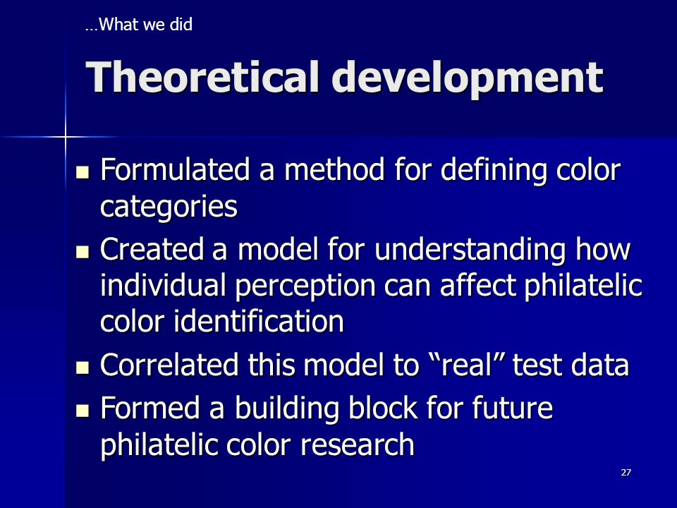 Theoretical development