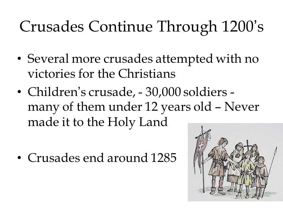 Crusades Continue Through 1200's
