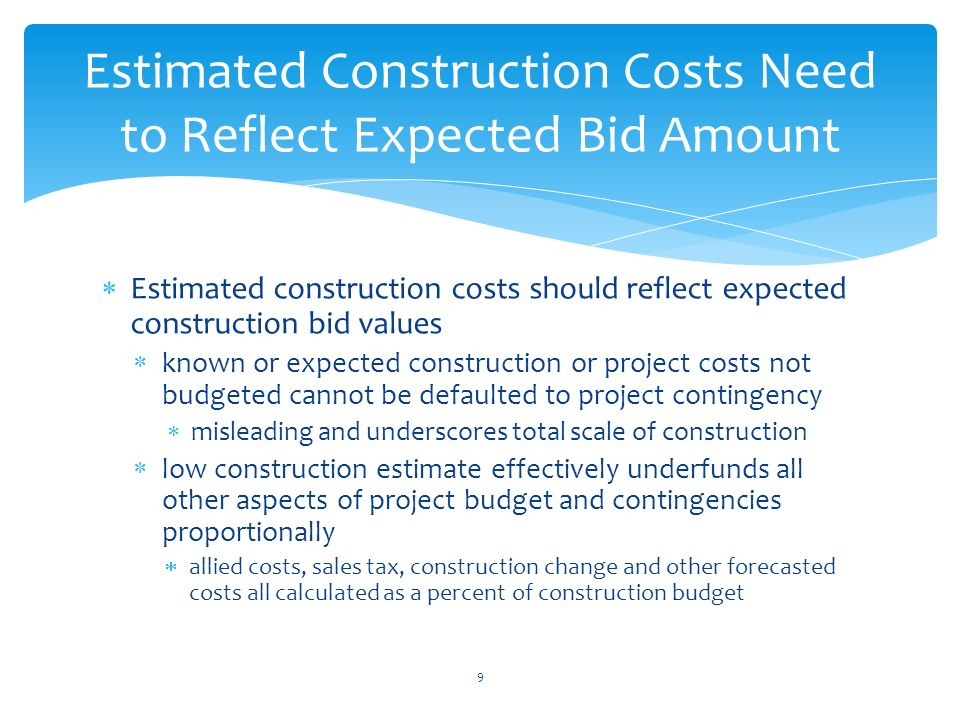 Wtd estimating standards king county audit presentation for Online construction cost estimator