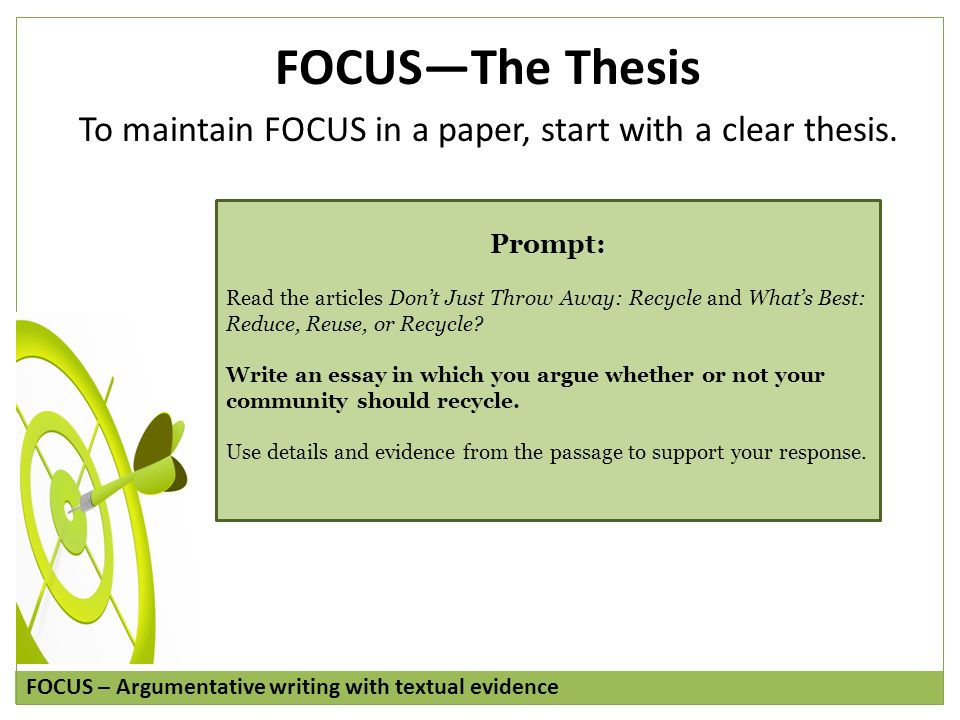 thesis focus Learn about how to write your rough draft, including what to focus on, what to watch for as you write and what to do next.