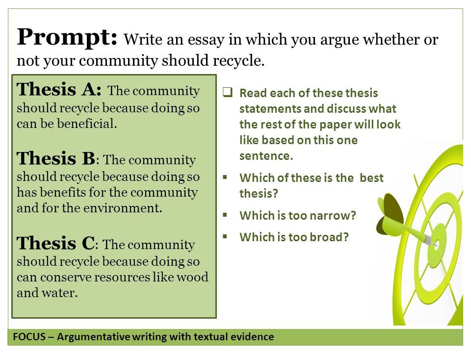 argument writing grade copyright © by write score llc  prompt write an essay in which you argue whether or not your community should recycle