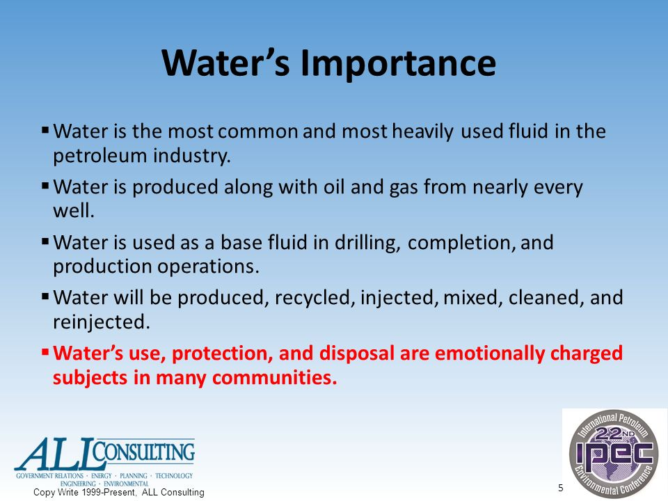 Importance of water in industry