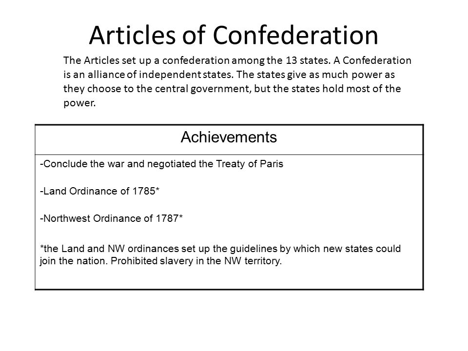An introduction to the effectiveness of the articles of confederation