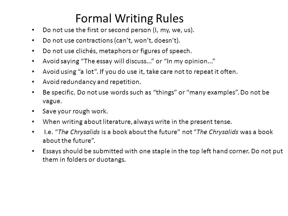 formal essay contractions Check out vital tips on how to write a formal essay if you need qualified help with writing a formal essay why are contractions disallowed in formal essay writing.