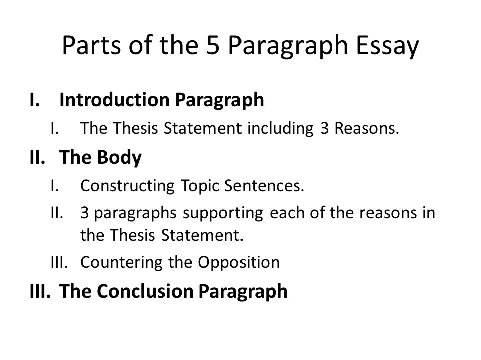 5 parts of a essay Almost every college essay should include a thesis statement, which explains the general topic or purpose of the essay a good thesis statement specifies the focus of the essay and outlines the paper's organizational style.