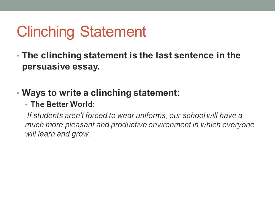 Final statement in essay