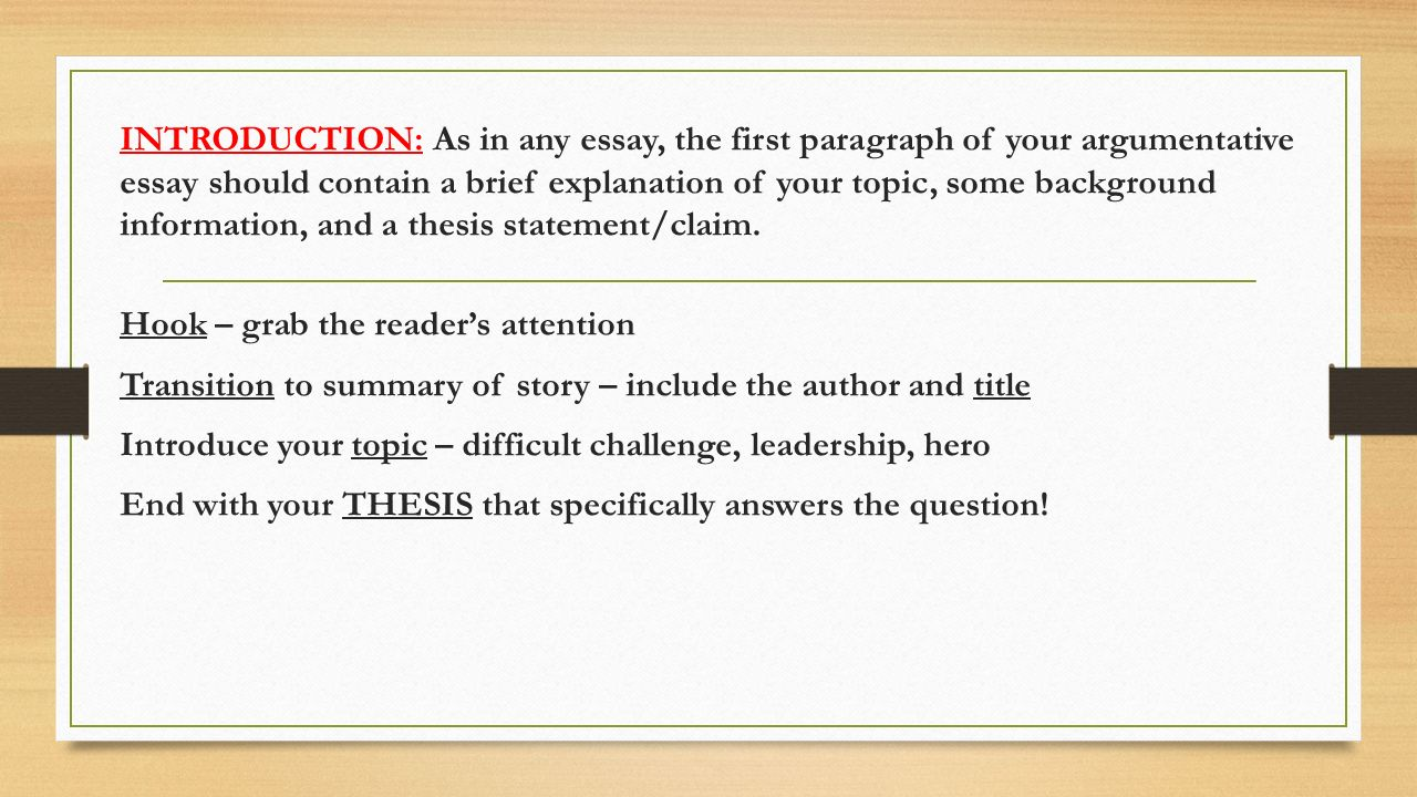 The Metamorphosis Essay Introduction As In Any Essay The First Paragraph Of Your Argumentative  Essay Should Contain Define Process Essay also The Immortal Life Of Henrietta Lacks Essay The Odyssey Argumentative Essay  Ppt Video Online Download Essay Of Health