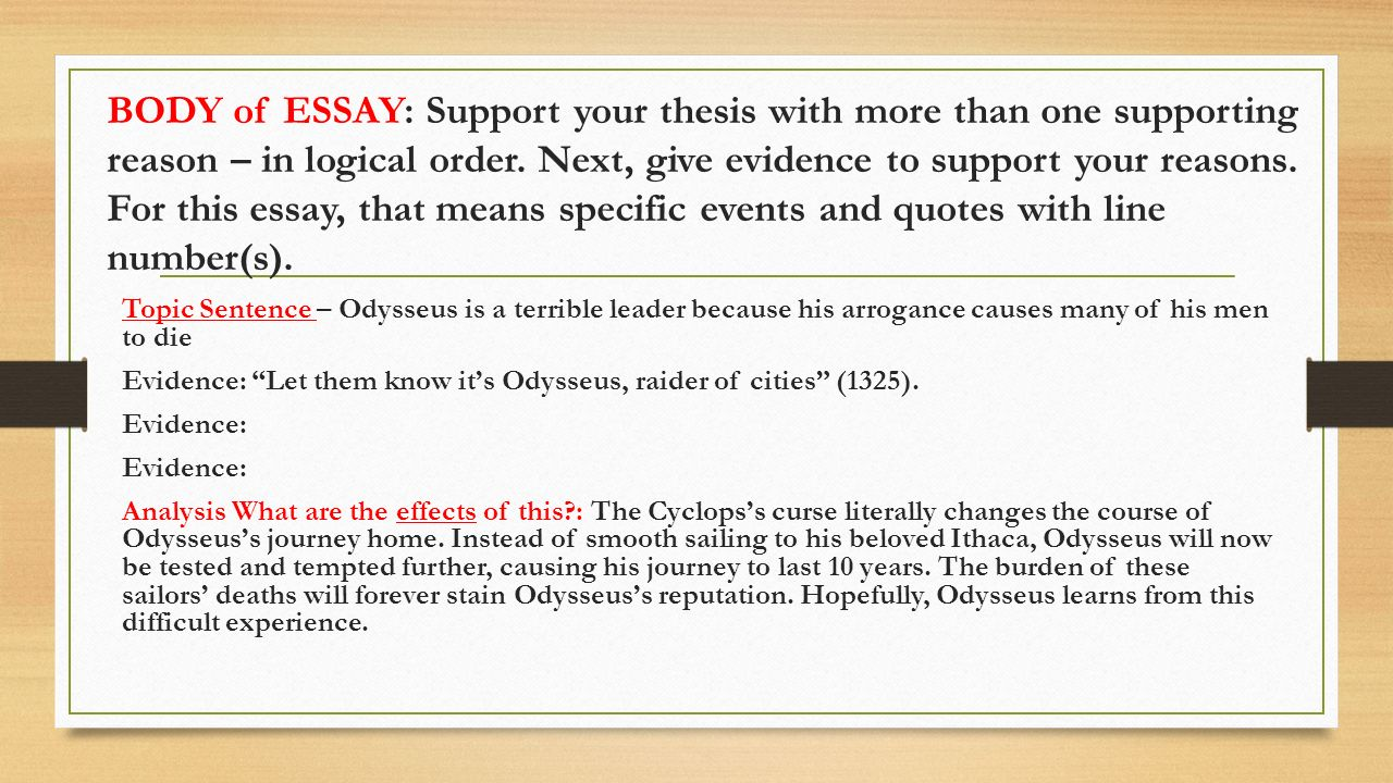 the odyssey argumentative essay ppt video online  body of essay support your thesis more than one supporting reason in logical