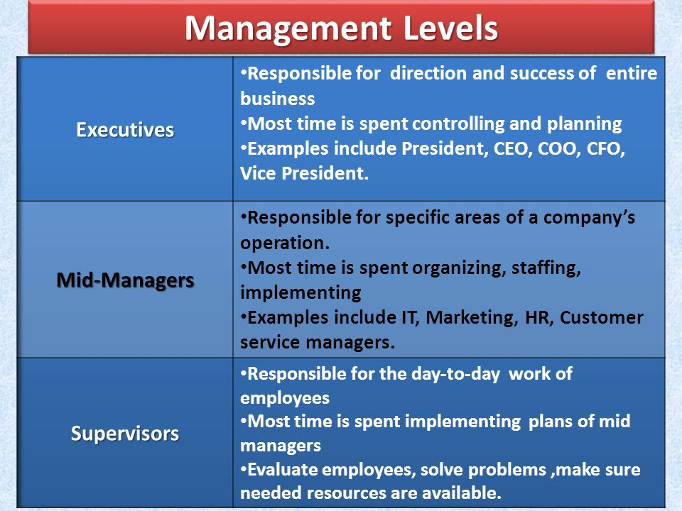 Management Levels Executives Mid-Managers Supervisors
