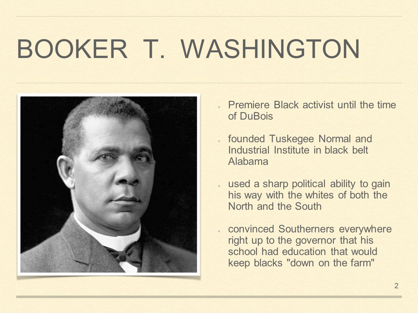 the two leaders of the black america booker t washington and w e b du bois Compare and contrast the approaches of ida b she was also among the few black leaders to explicitly oppose booker t especially web du bois.