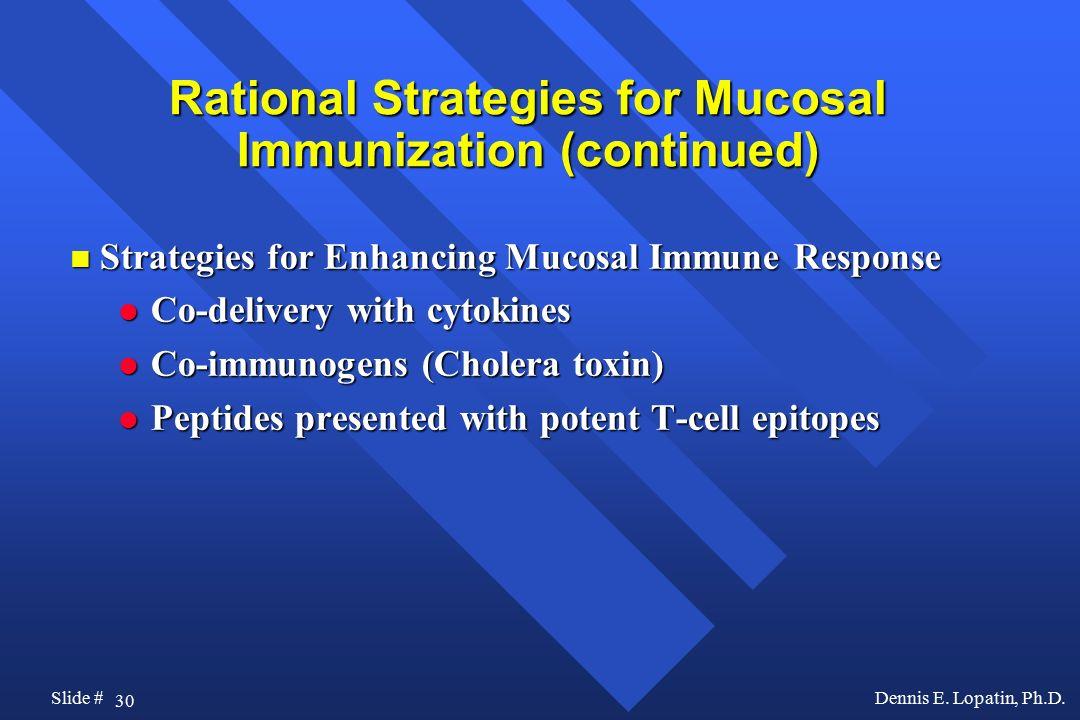 Rational Strategies for Mucosal Immunization (continued)