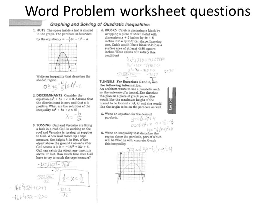 Word Problem worksheet questions ppt video online download – Quadratic Function Word Problems Worksheet