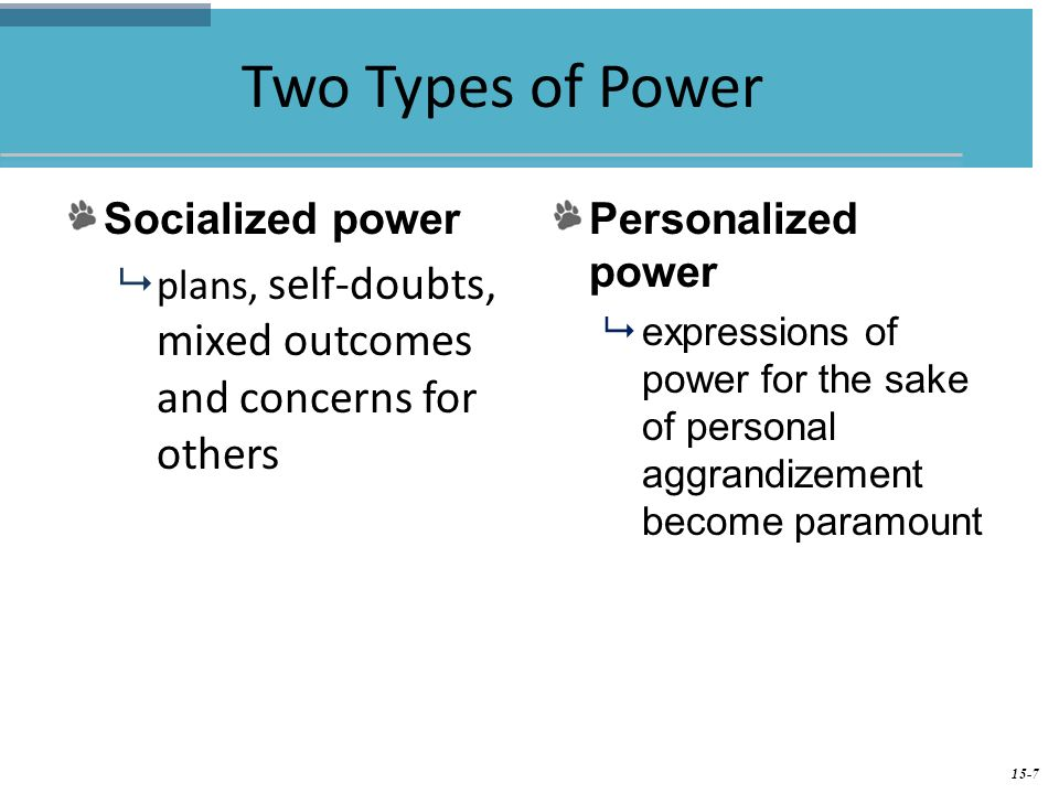 personal power types Political(politicians, police, legal workers, workers who are backed by law) personal(power by occupations or roles ie teachers over.