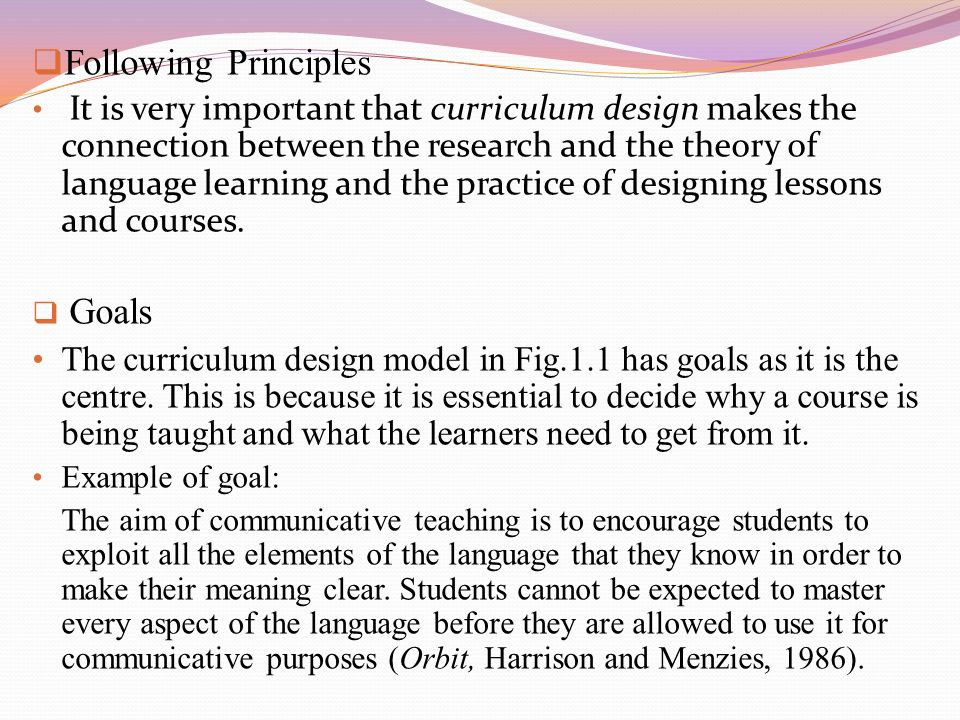 All Of The Following Are Principles Of Design Except : Language curriculum design i s p nation john macalister