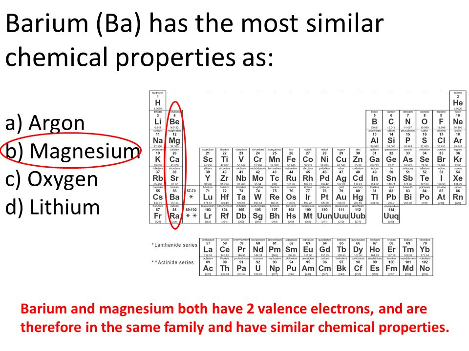 chemical properties of the element barium essay Free essay on properties and history of chemical element: nitrogen available totally free at echeatcom, the largest free essay community.