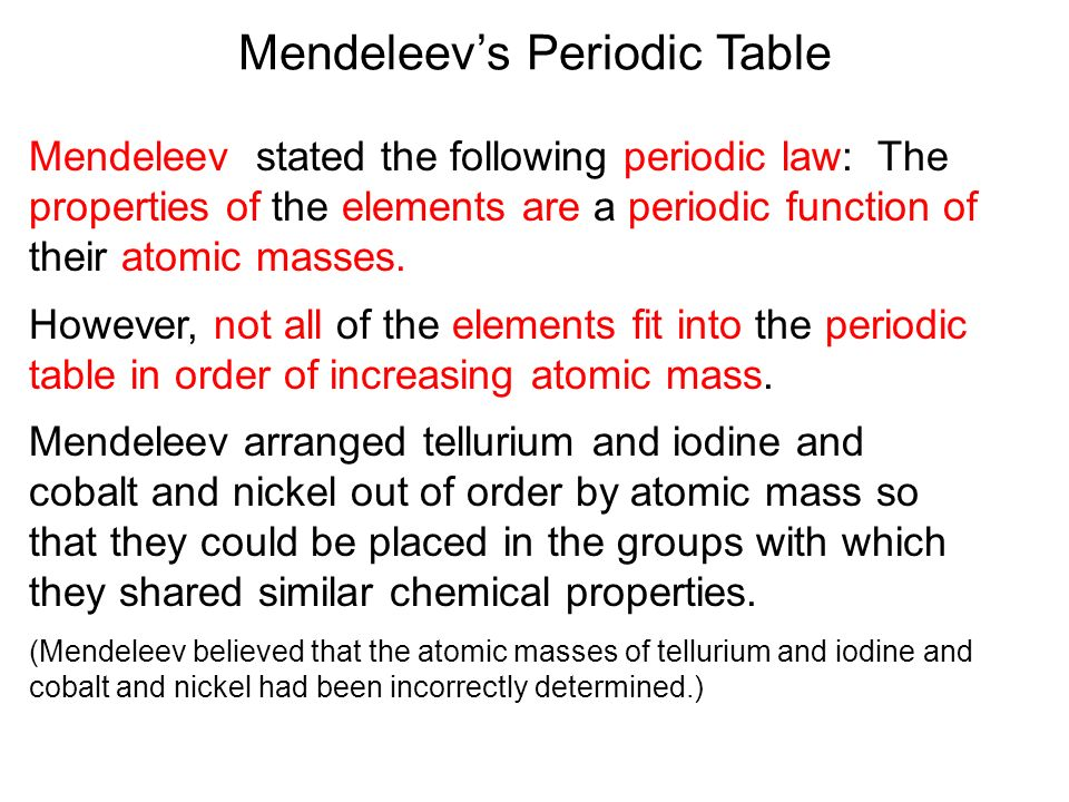 Atomic theory and the periodic table ppt download mendeleevs periodic table urtaz Image collections