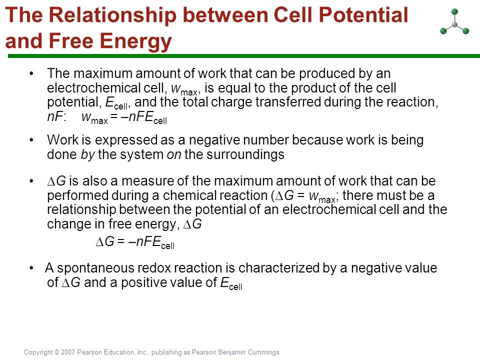 relationship between cell potential and