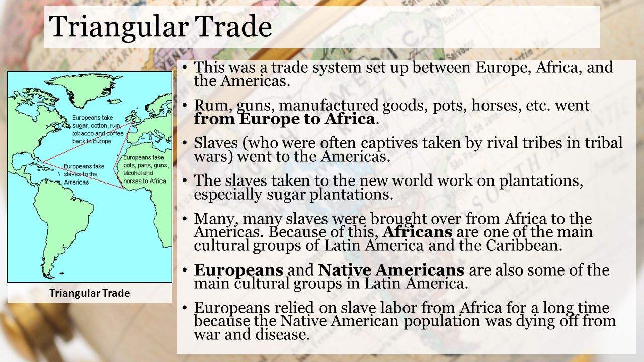 triangular trade Other articles where triangular trade is discussed: bordeaux:again prospered from the triangular trade: slaves from africa to the west indies, sugar and coffee back to bordeaux, then arms and wines back to africa.