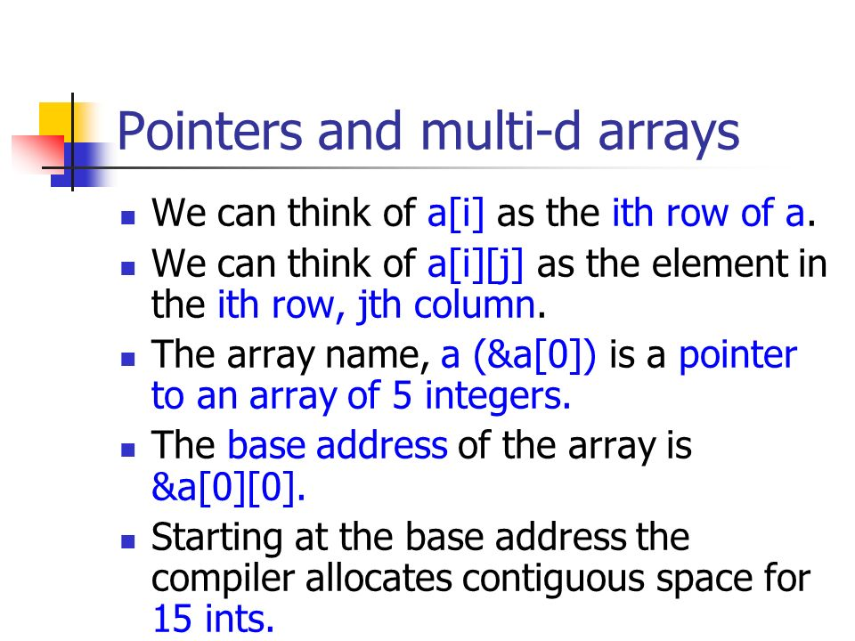 relationship between array name and pointer