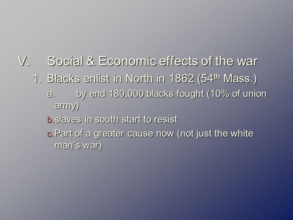 the social and economic effects of the civil war in america Du bois also knew that black america had never consisted of one social or economic class even before the outbreak of the civil war, about 11 percent of black america was free, some born into.