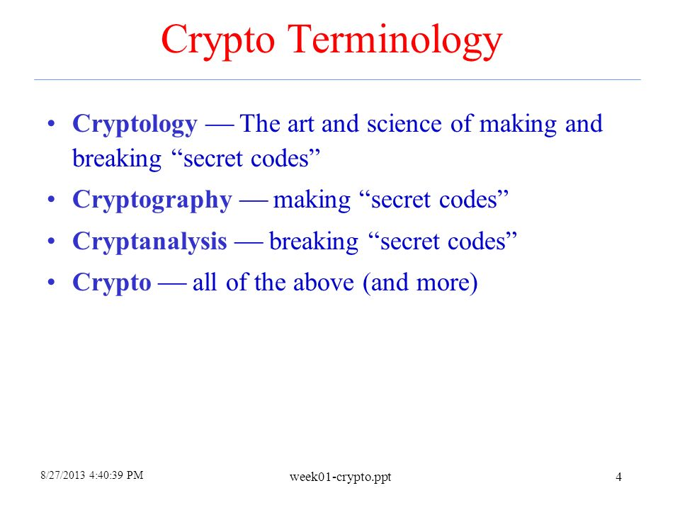 4 26 2017 Crypto Terminology Cryptology The Art And Science Of Making