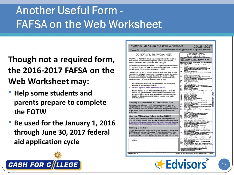 Fafsa On The Web Worksheet 2016 17 Diilz – Fafsa on the Web Worksheet