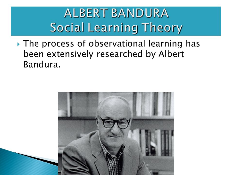 albert bandura theory essay albert bandura's social learning theory, which is also referred to as observational learning, is the idea that people had the ability to learn information and behaviors by watching others bandura discovered that there were three basic models of observational learning: a live model, where an.