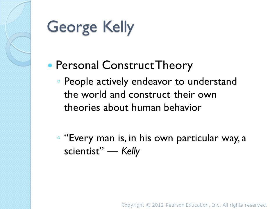 the concept and applications of kellys personal construct theory This chapter addresses american psychologist george kelly's personal construct theory, and its application in information sci- entist carol kuhlthau's conceptualization of the information search process.