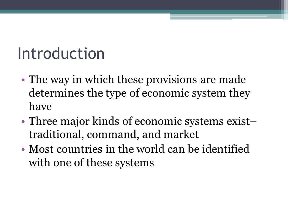 major types of economic systems