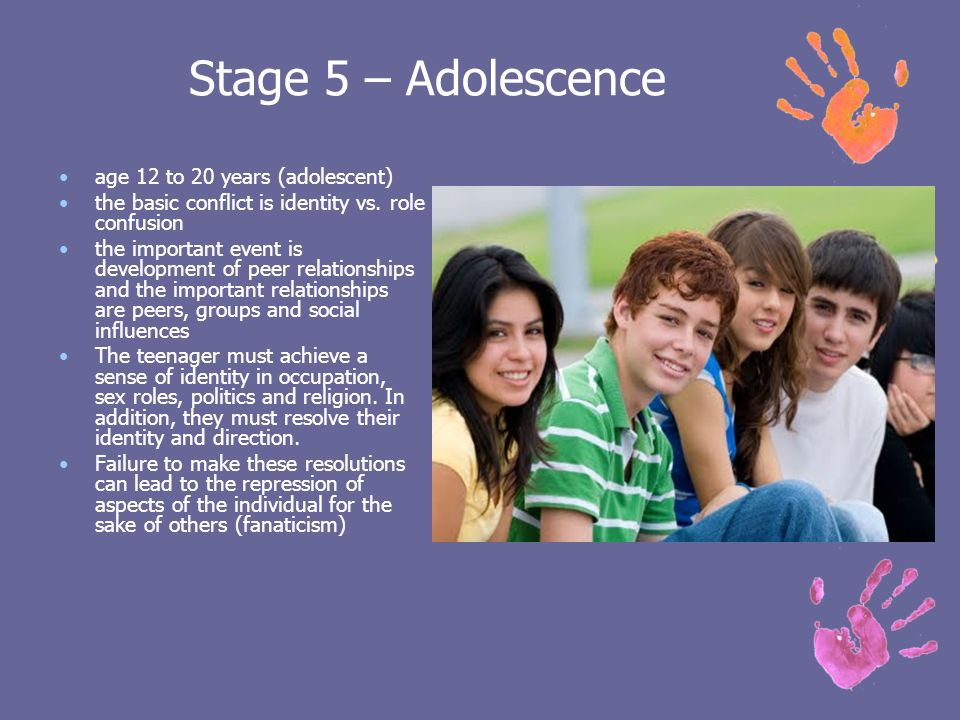 influences on adolescence stage of development Peers play a large role in the social and emotional development of children and adolescents their influence begins at an early age and increases through the teenage years it is natural, healthy and important for children to have and rely on friends as they grow and mature.