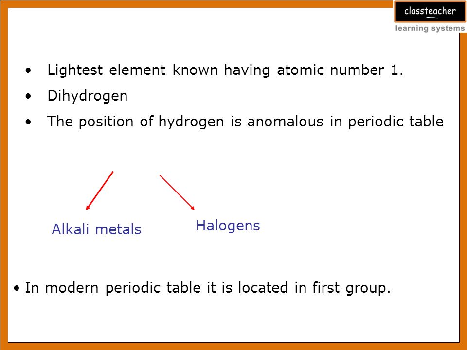 Hydrogen ppt video online download position of hydrogen in periodic table 5 lightest urtaz Choice Image