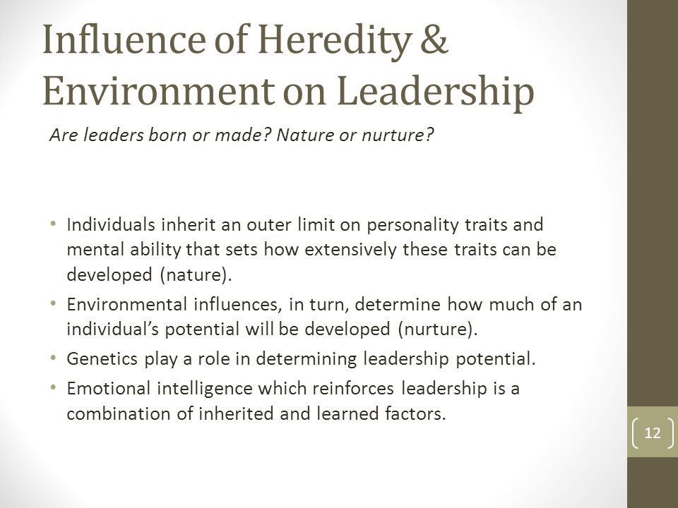 influencing heredity The article discusses how both, heredity and environment, shape our children's personalities.