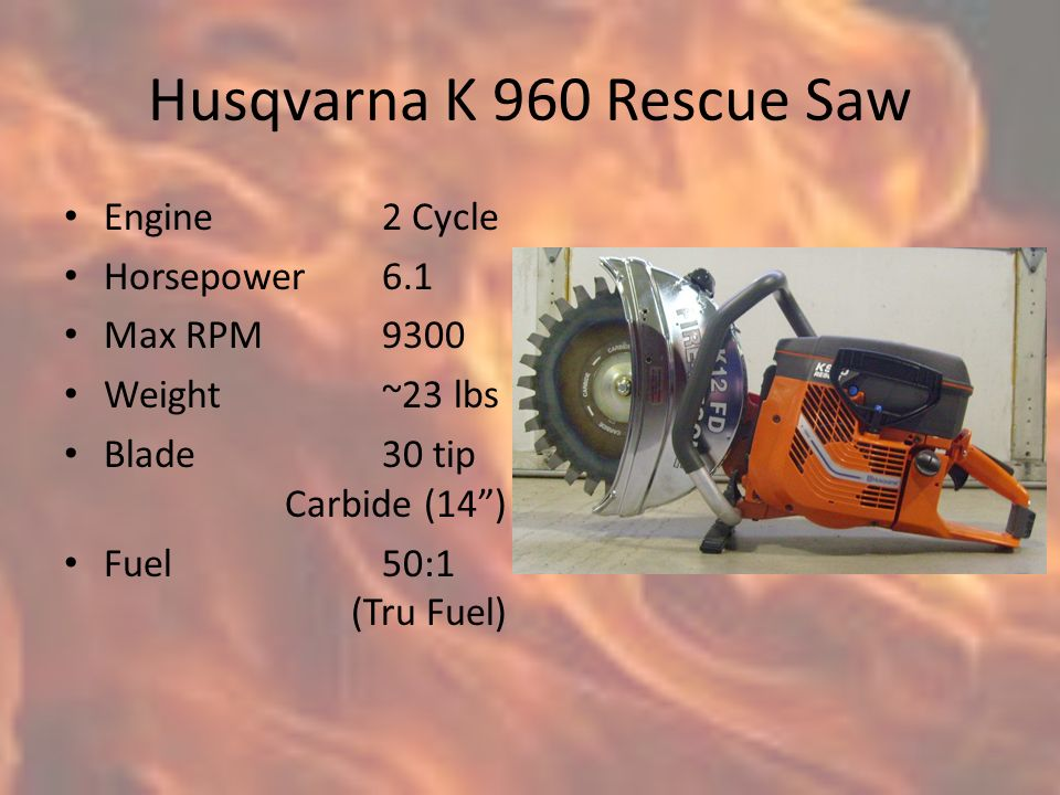 husqvarna k 960 rescue saw engine 2 cycle horsepower 6 1 max rpm ppt