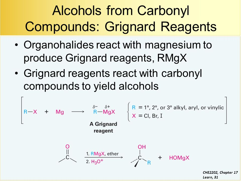 a lab experiment on the grignard reaction to yield an alcohol After reaction, the desired product (an alcohol, as shown here) is formed after acidic hydrolysis  stop and store this part of the experiment until the next lab period part b synthesis of benzoic acid from phenylmagnesium bromide  the grignard reaction product should appear as a viscous glassy mass with a brownish color.