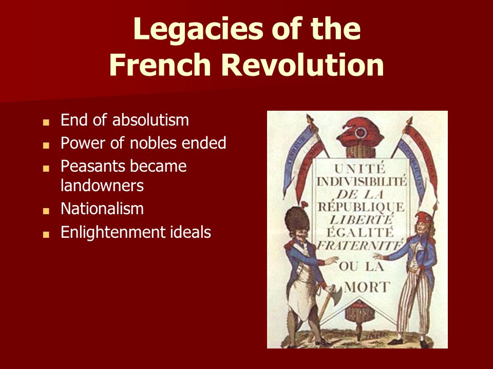 legacies of the revolution Yet no matter what their interpretation, the lessons and impact of the revolution continue to be at the heart of several different historical and contemporary political debates part i: contemporary reactions to the french revolution the events of the french revolution alternately energized and repulsed contemporaries.