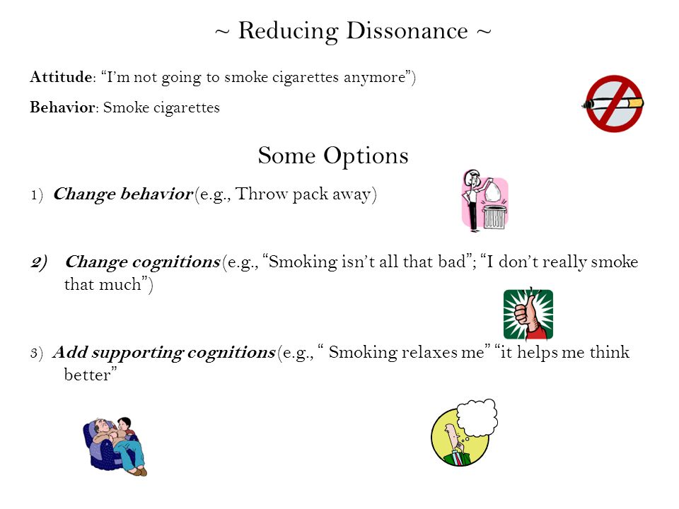 reduction of cognitive dissonance in smokers Cognitive dissonance and smoking what's the connection between cognitive dissonance and smoking before i talk about this connection let me first explain in few lines what cognitive dissonance is.