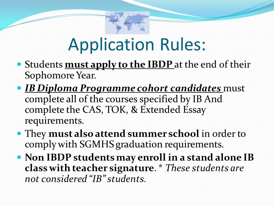 ib program application essay How to structure a business management extended essay new ib  (inside the ibmastery course selections program) advice for writing amazing college application.
