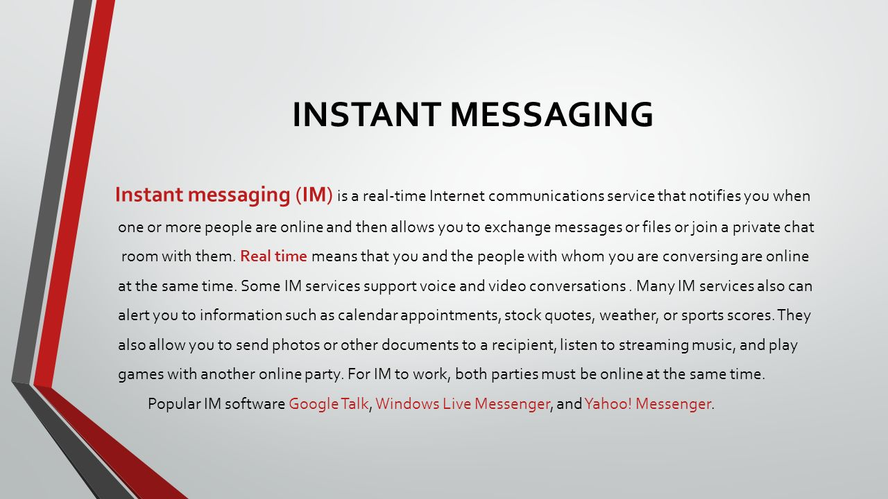 Instant Messages With Others : Introduction to computing ppt download