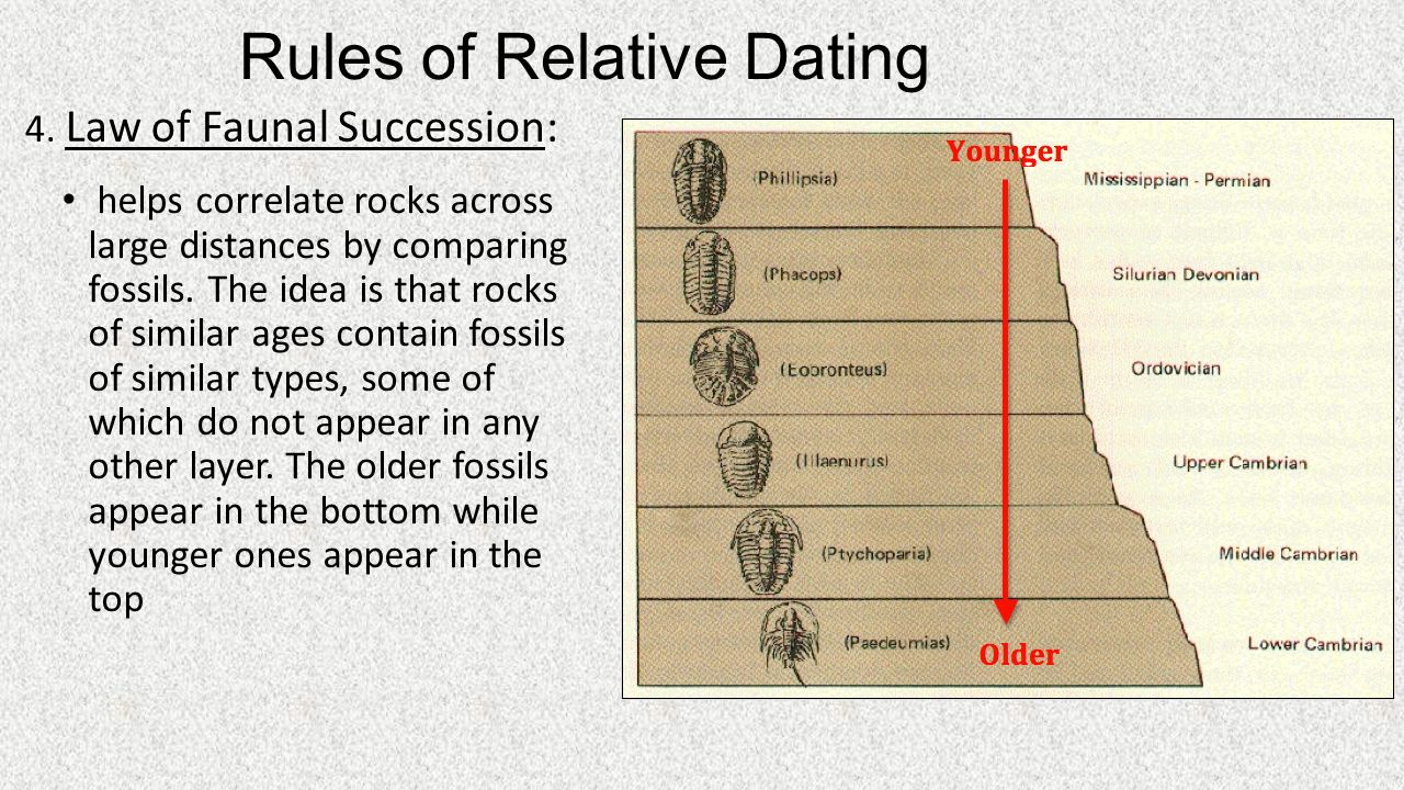 What are the four laws of relative dating