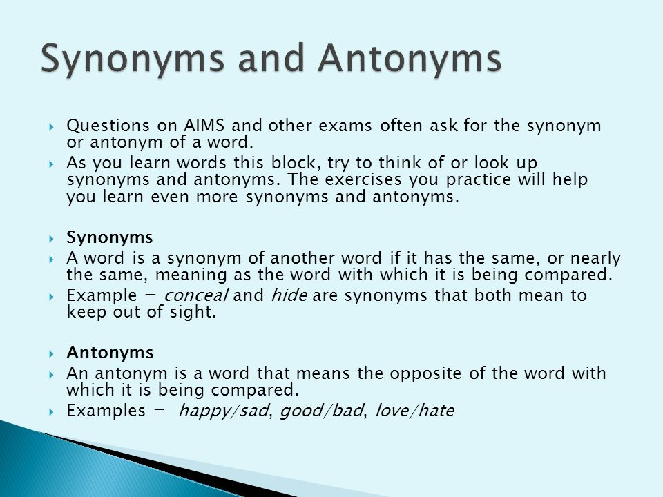 antononyms questions