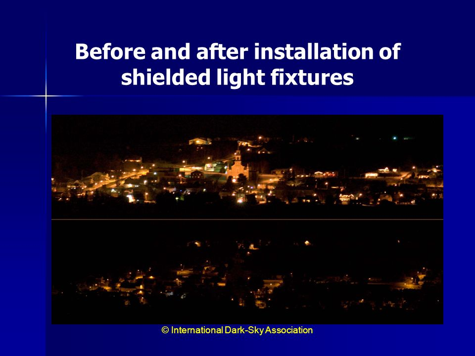 Before and after installation of shielded light fixtures