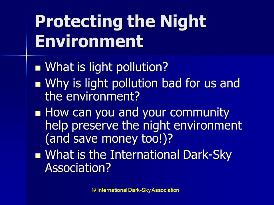 Protecting the Night Environment