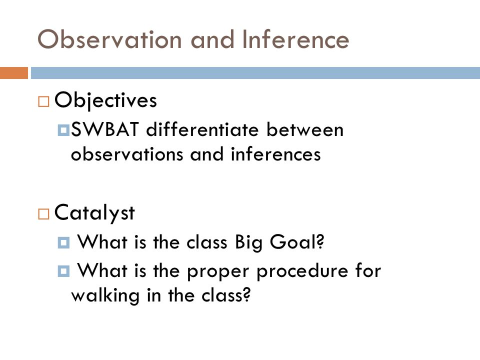 compare observation and inference