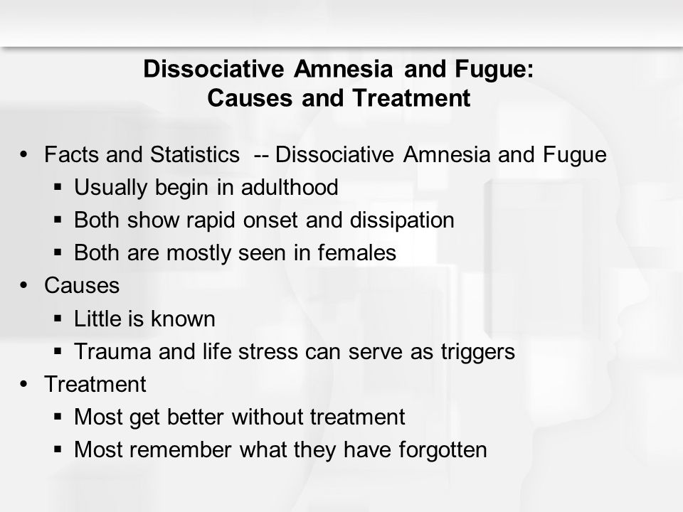 dissociative fugue Dissociative fugue is one or more episodes of amnesia in which an individual  cannot recall some or all of his or her past either the loss of one's identity or the.