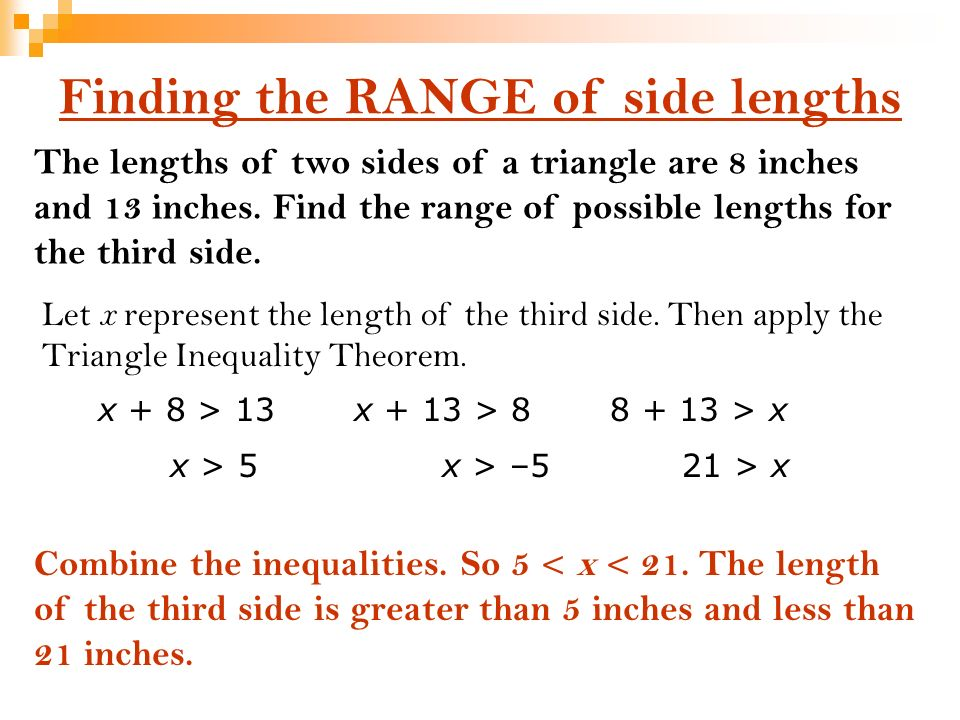 write an inequality relating the given side lengths