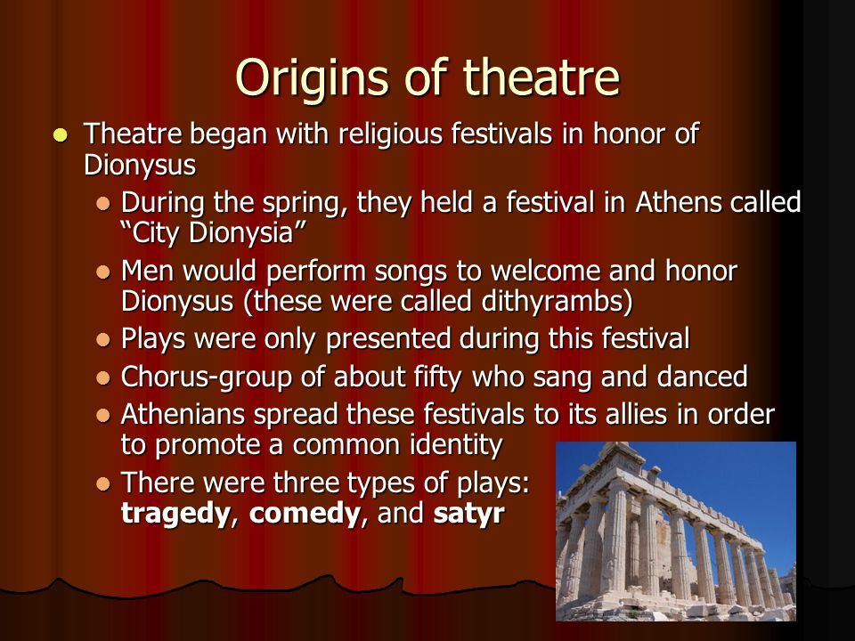 a festival performance at the city of dionysia Throughout the acharnians there are many references to dionysus  the  performance is set to be presented at the 54° festival al teatro greco di  once a  meditation on human fate and a tribute to his favourite city, athens.