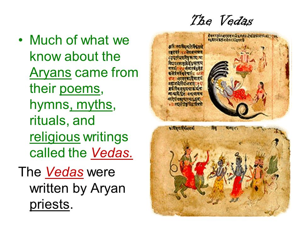 The Vedas Much of what we know about the Aryans came from their poems, hymns, myths, rituals, and religious writings called the Vedas.