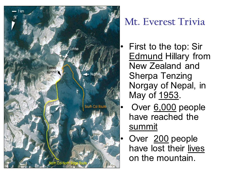 Mt. Everest Trivia First to the top: Sir Edmund Hillary from New Zealand and Sherpa Tenzing Norgay of Nepal, in May of 1953.